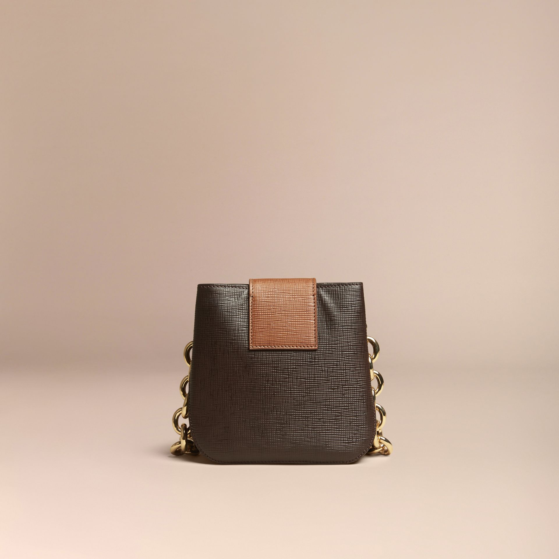 Dark clove brown The Small Square Buckle Bag in Textured Leather - gallery image 4