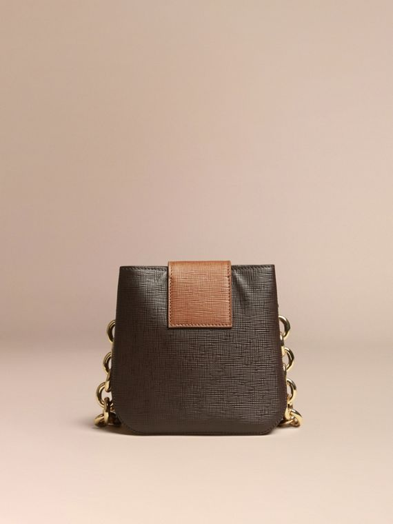 Dark clove brown The Small Square Buckle Bag in Textured Leather - cell image 3