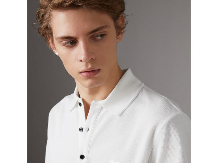 Cotton Piqué Polo Shirt in White - Men | Burberry United Kingdom - cell image 1