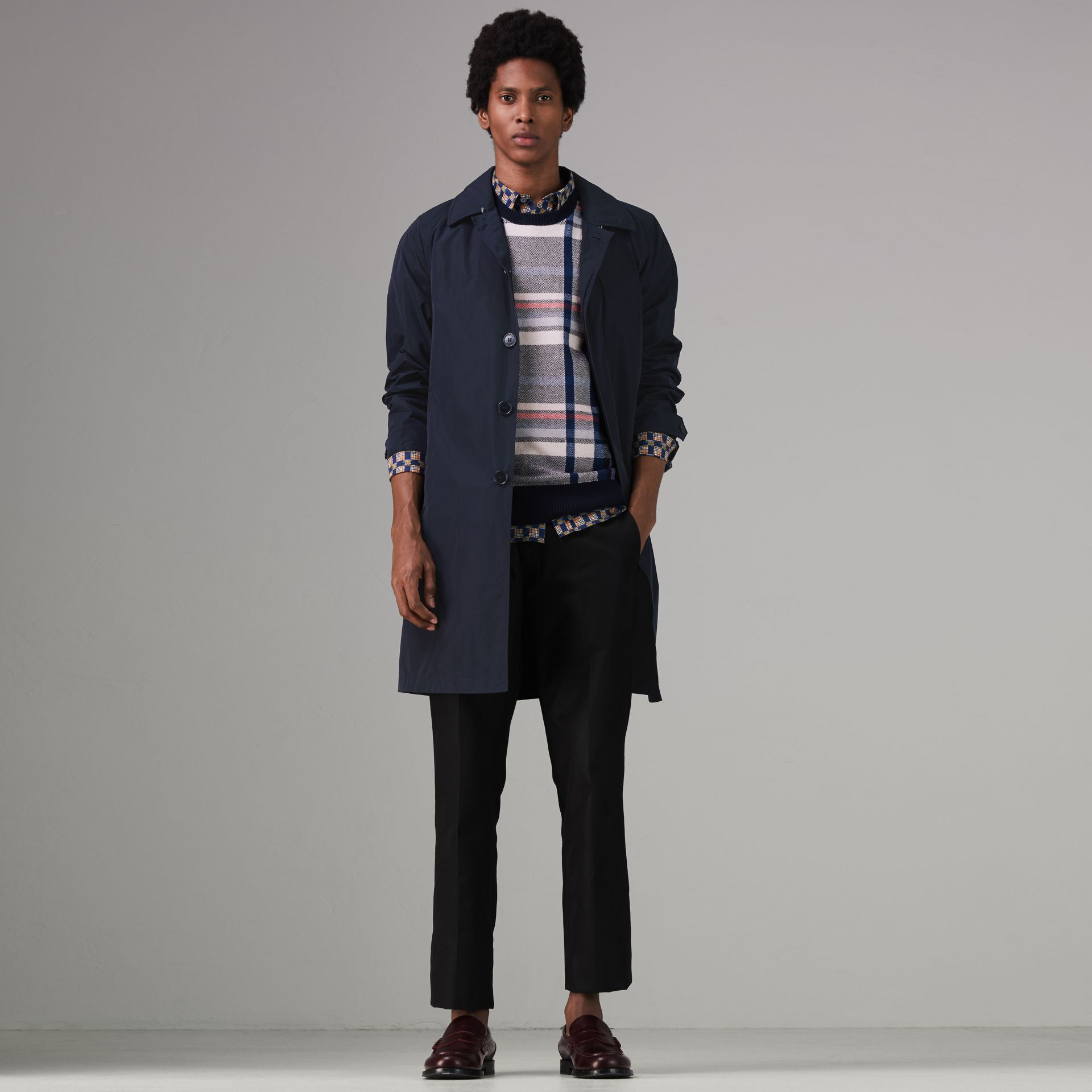 Shape-memory Taffeta Car Coat with Warmer in Navy - Men | Burberry Singapore - gallery image 0