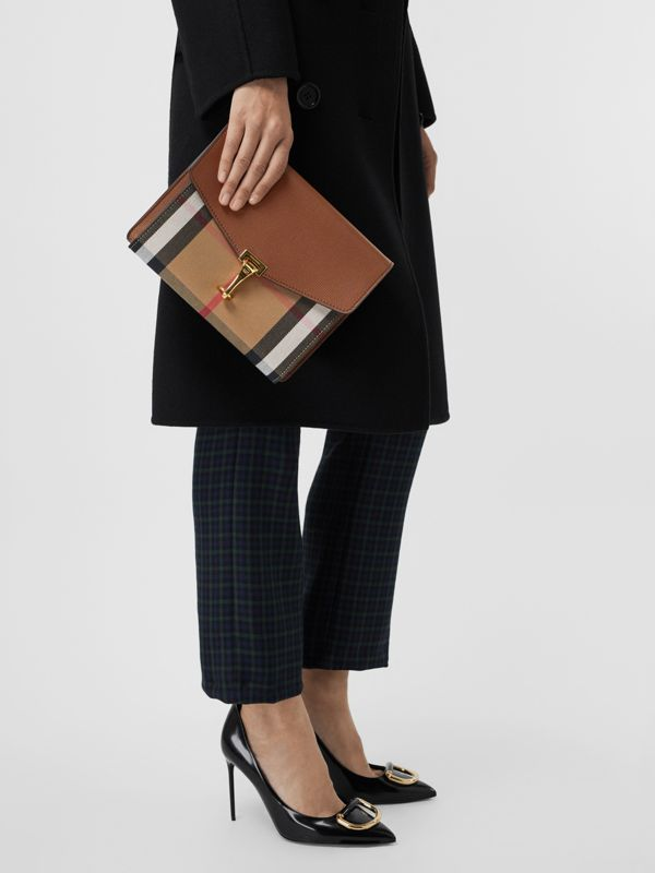 Small Leather and House Check Crossbody Bag in Tan - Women | Burberry - cell image 3