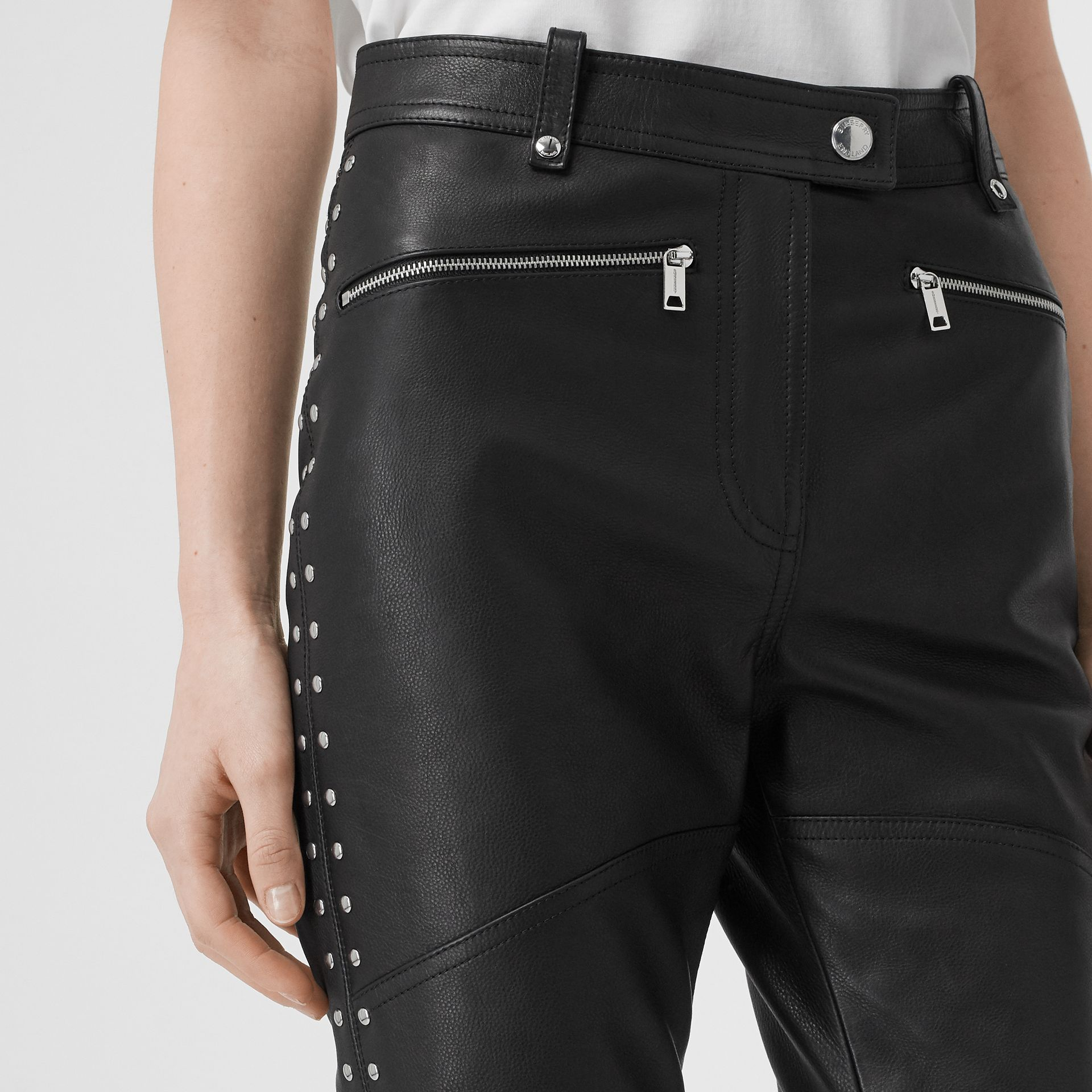 Zip Detail Studded Leather Trousers in Black - Women | Burberry - gallery image 1