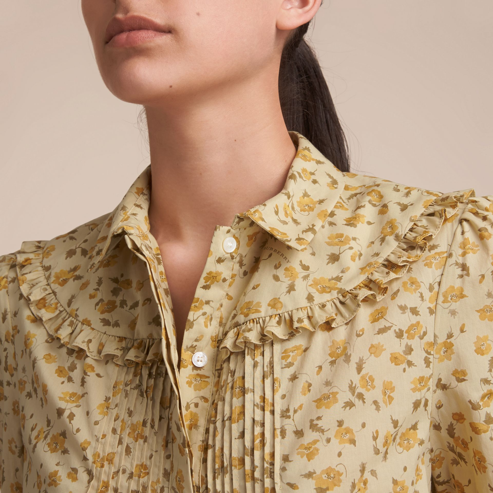 Ruffle Yoke Floral Print Cotton Shirt in Chalk Yellow - Women | Burberry - gallery image 5