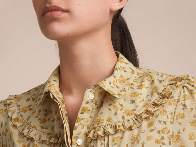 Ruffle Yoke Floral Print Cotton Shirt in Chalk Yellow - Women | Burberry - cell image 4