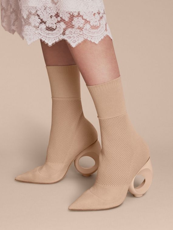 Mid-calf Knitted Boots with Sculpted Heel in Nude - cell image 2