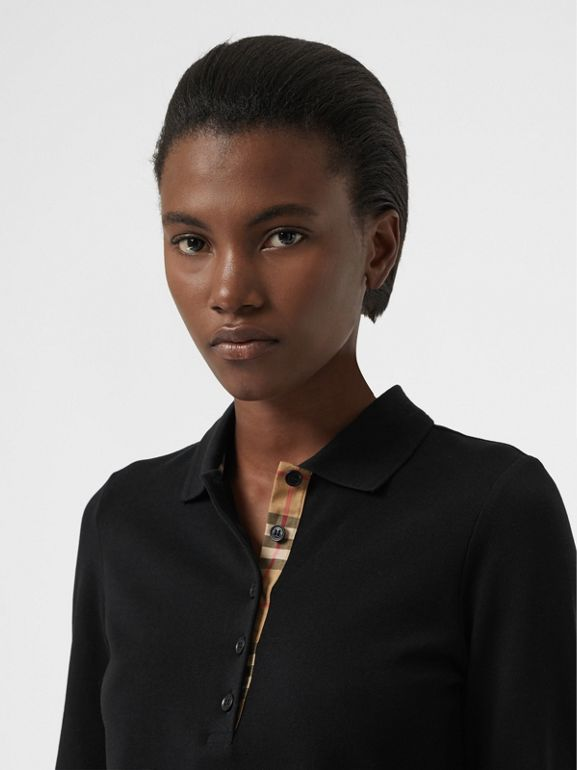 Long-sleeve Check Placket Cotton Piqué Polo Shirt in Black - Women | Burberry Hong Kong - cell image 1