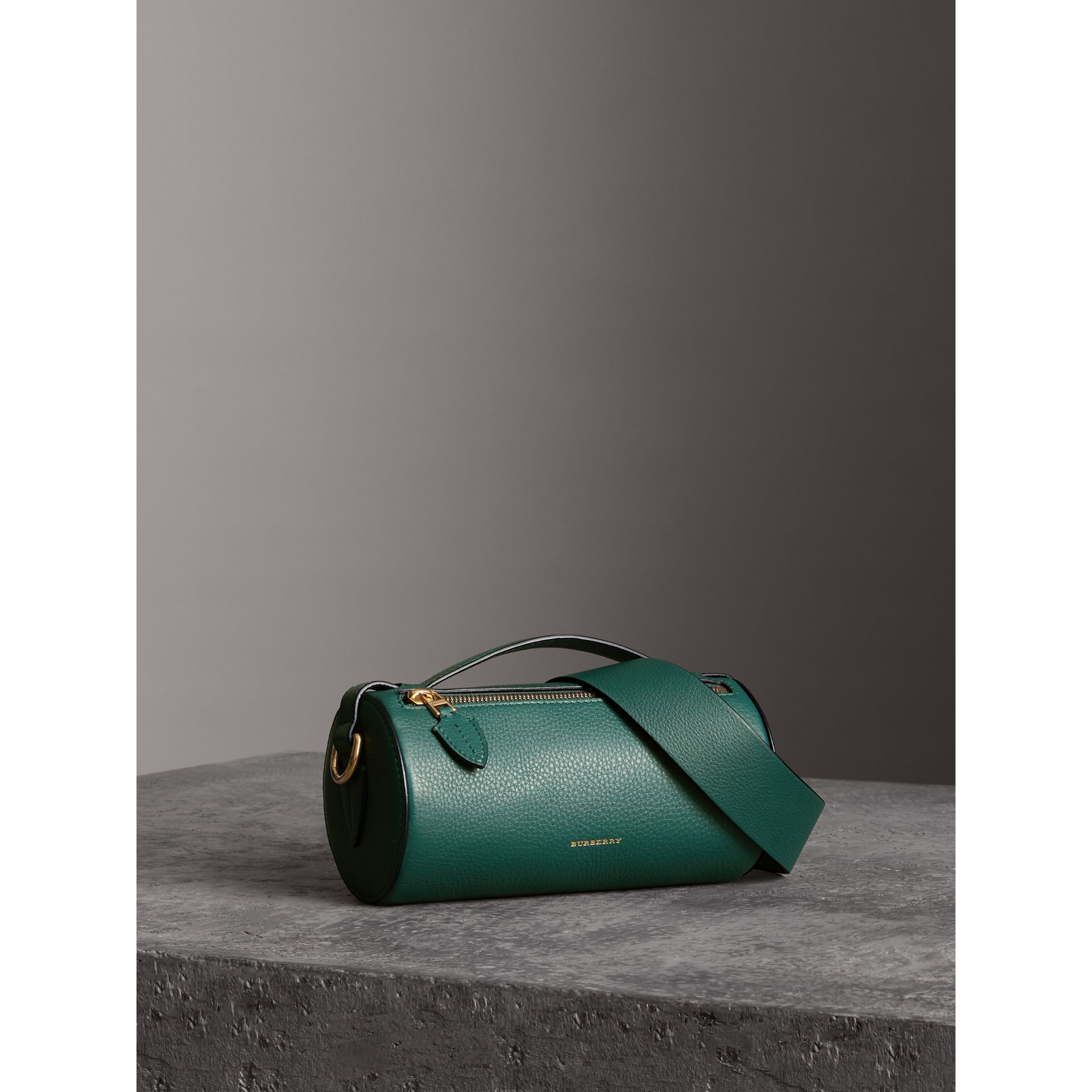 The Leather Barrel Bag in Dark Cyan - Women | Burberry - gallery image 6