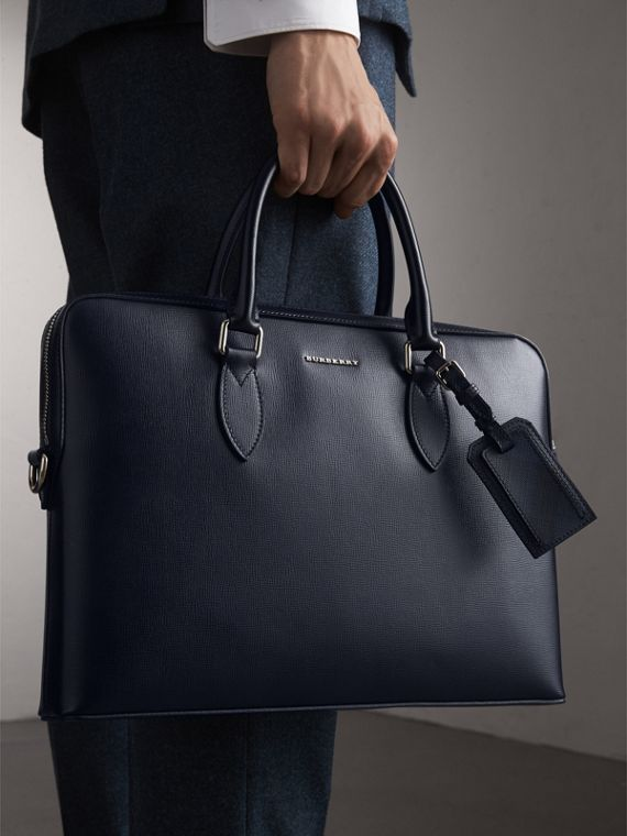 The Slim Barrow in London Leather in Dark Navy/black - Men | Burberry Australia - cell image 2
