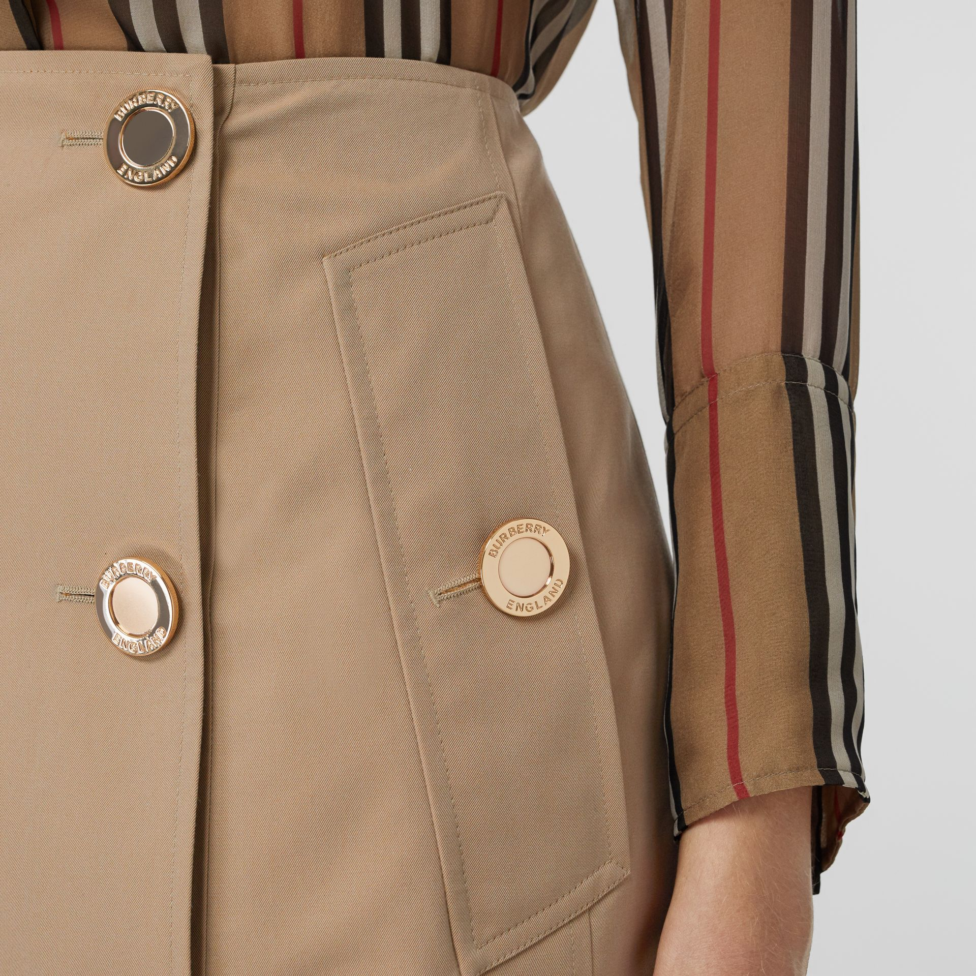 Cotton Gabardine Trench Skirt in Honey - Women | Burberry - gallery image 4