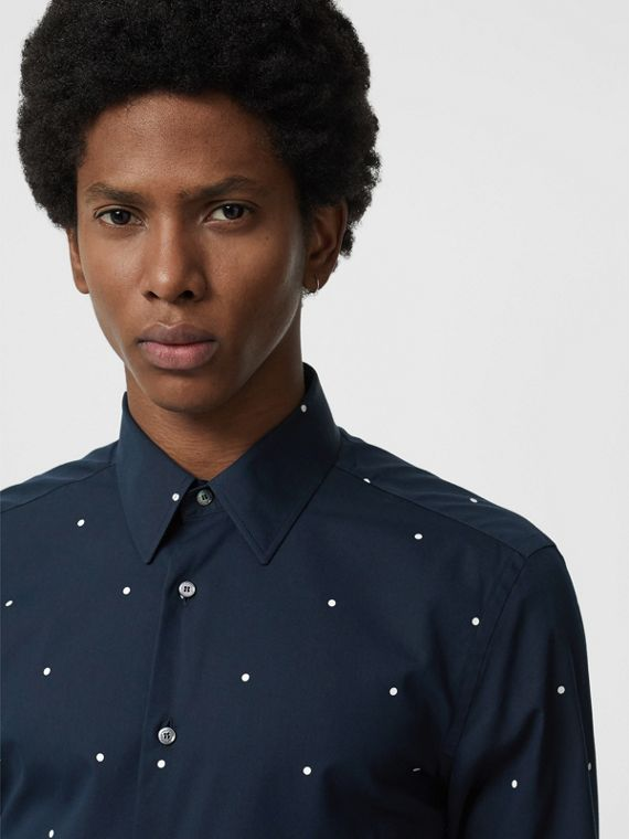 Slim Fit Polka Dot Cotton Poplin Shirt in Navy
