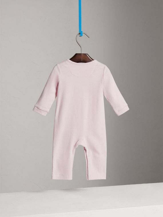 Check Trim Cotton Jumpsuit in Powder Pink | Burberry United Kingdom - cell image 3