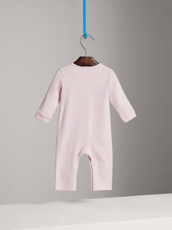 Check Trim Cotton Jumpsuit in Powder Pink - Children | Burberry - cell image 3