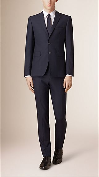 Slim Fit Check Wool Cashmere Part-canvas Suit