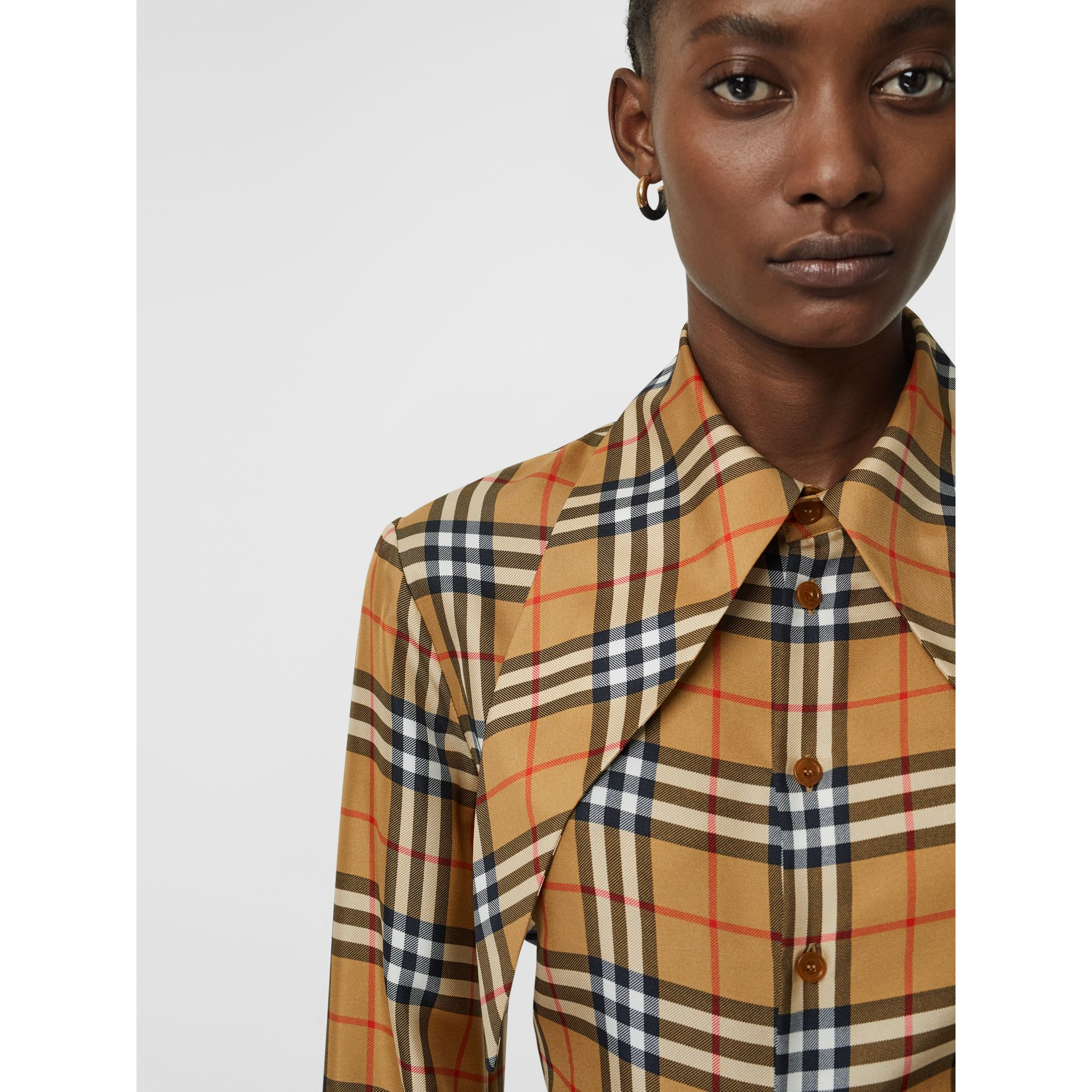 Oversized Collar Silk Twill Shirt in Antique Yellow | Burberry - gallery image 11