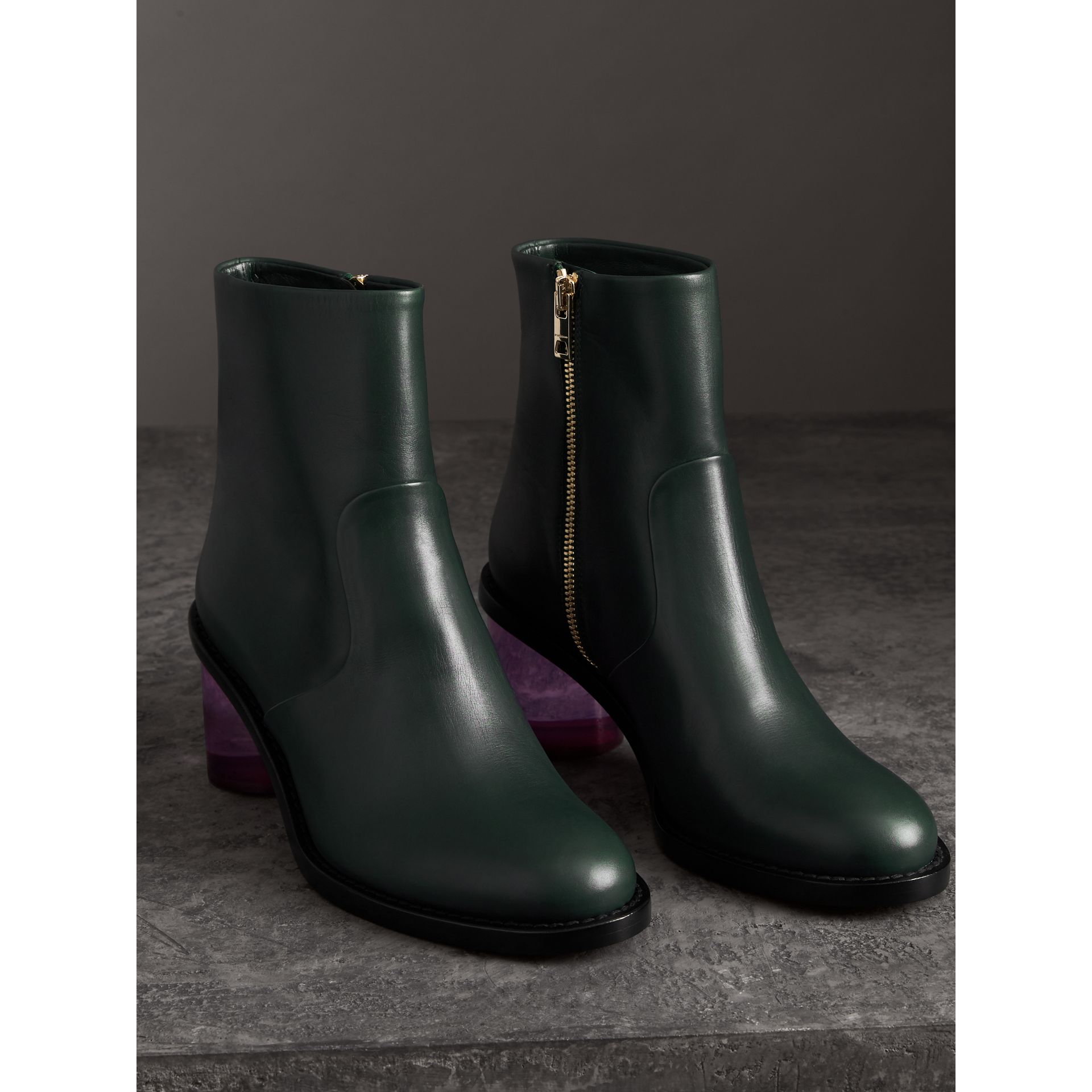 Two-tone Leather Block-heel Boots in Dark Forest Green - Women | Burberry - gallery image 4
