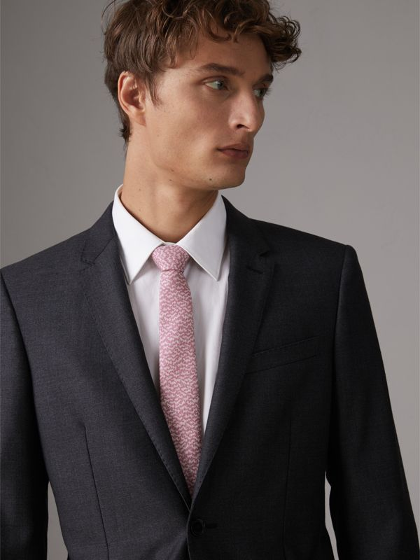 Slim Cut Ripple Print Silk Tie in Pink Azalea - Men | Burberry - cell image 2