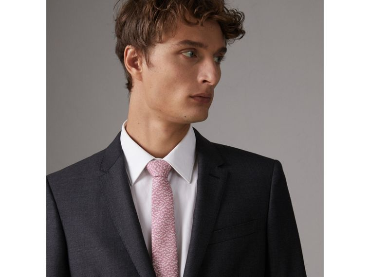 Slim Cut Ripple Print Silk Tie in Pink Azalea - Men | Burberry Hong Kong - cell image 2