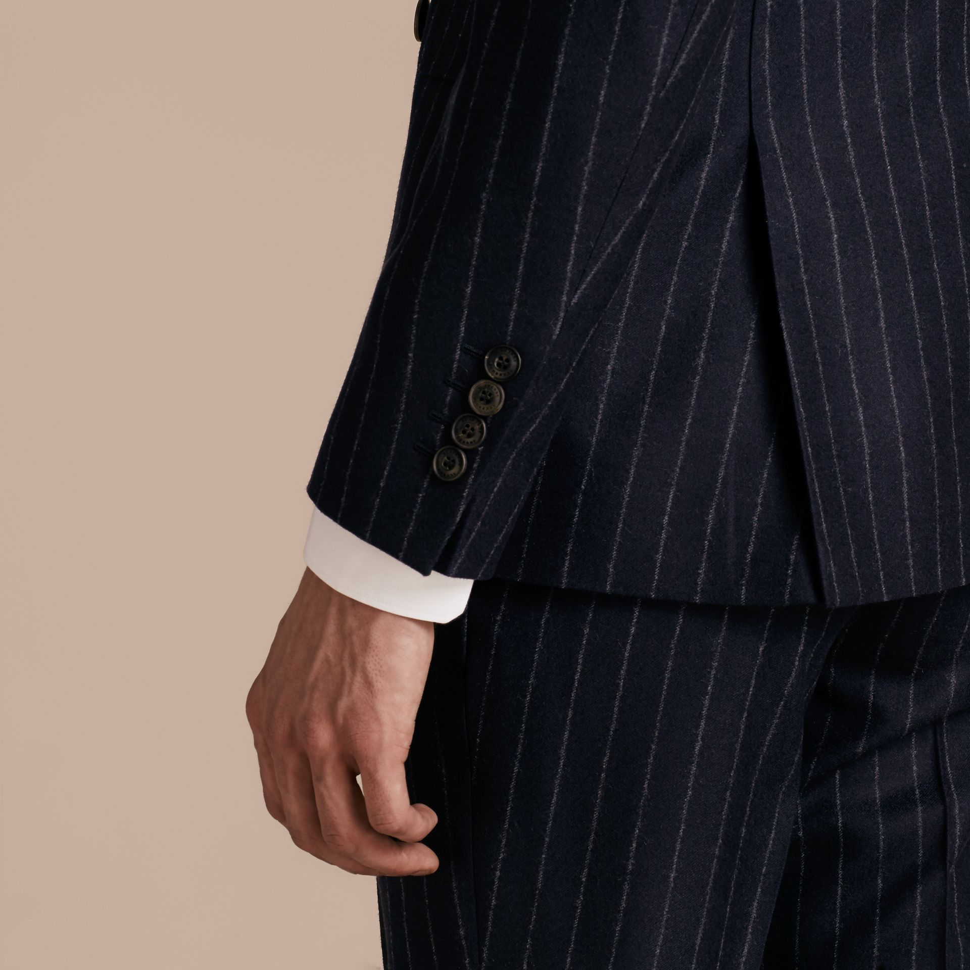 Slim Fit Double-breasted Pinstripe Wool Suit - gallery image 6