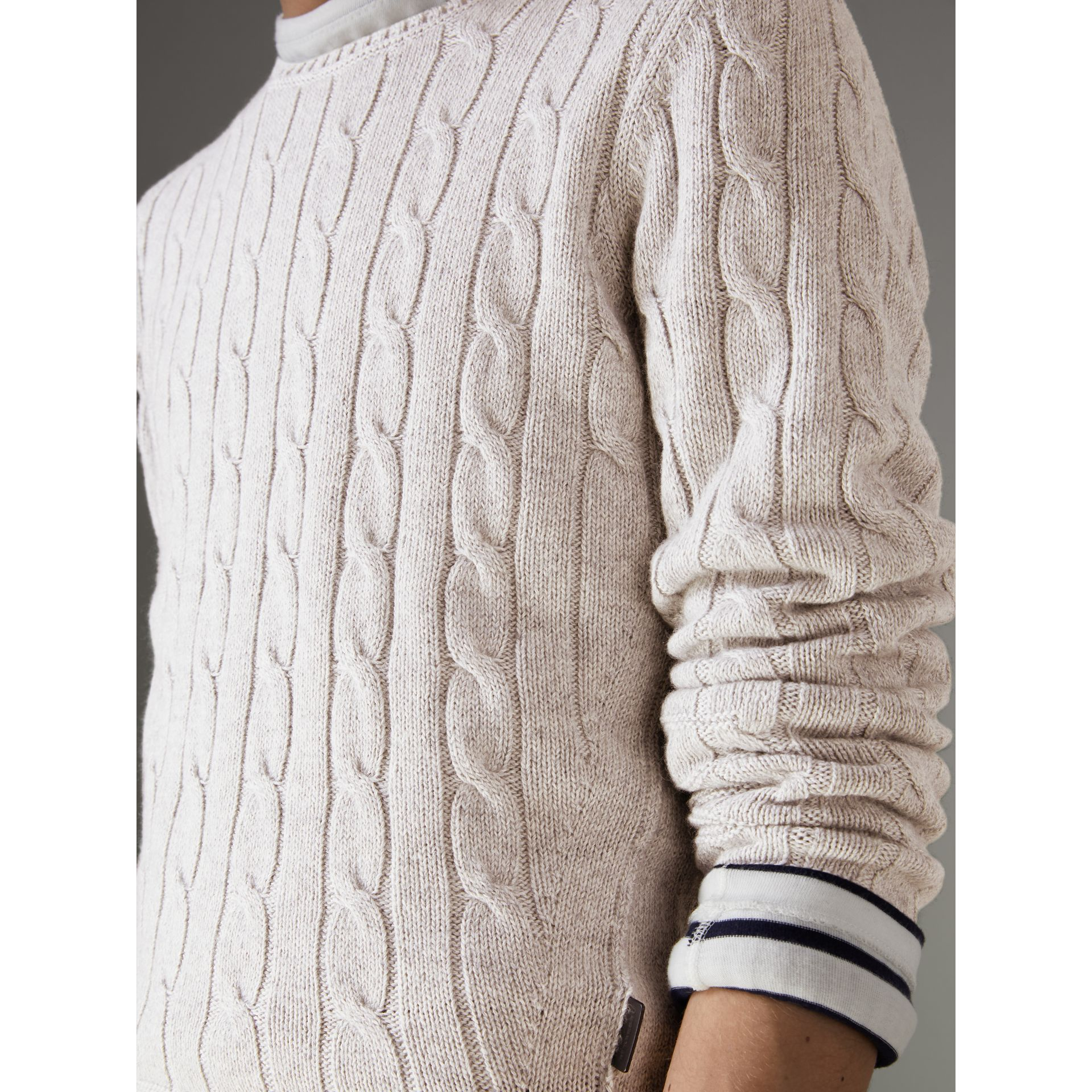 Cable Knit Cotton Cashmere Sweater in Light Grey Melange - Men | Burberry - gallery image 1