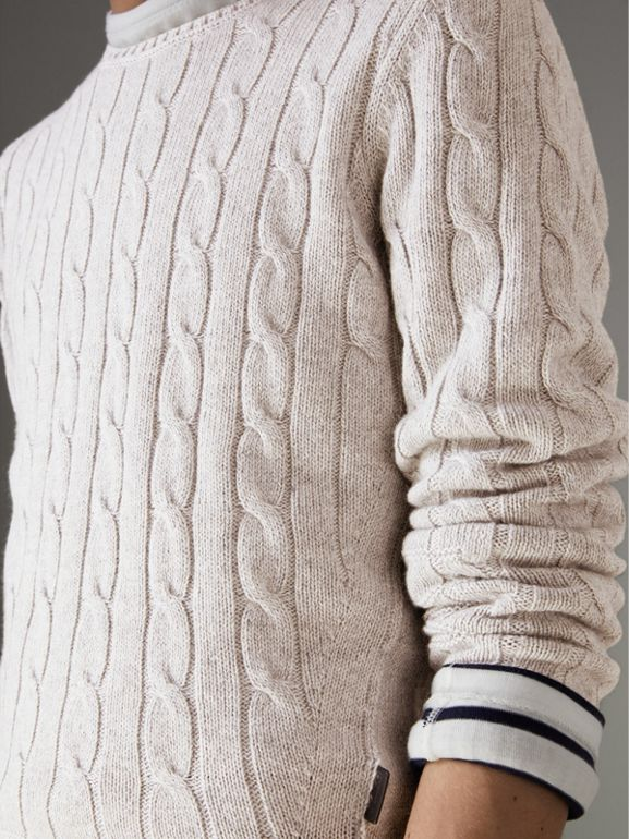 Cable Knit Cotton Cashmere Sweater in Light Grey Melange - Men | Burberry - cell image 1