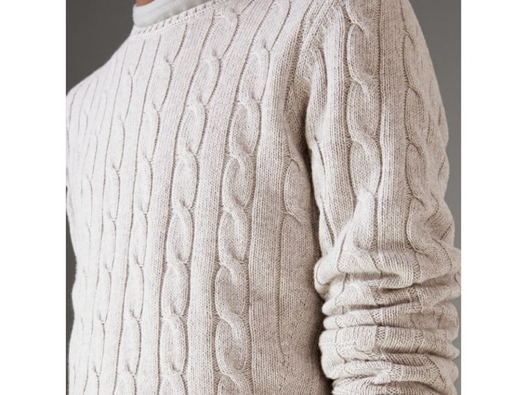 Cable Knit Cotton Cashmere Sweater in Light Grey Melange - Men | Burberry Hong Kong - cell image 1