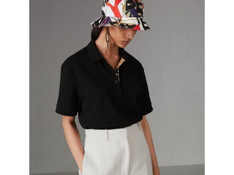 Check Placket Cotton Piqué Polo Shirt in Black - Women | Burberry Singapore - cell image 4