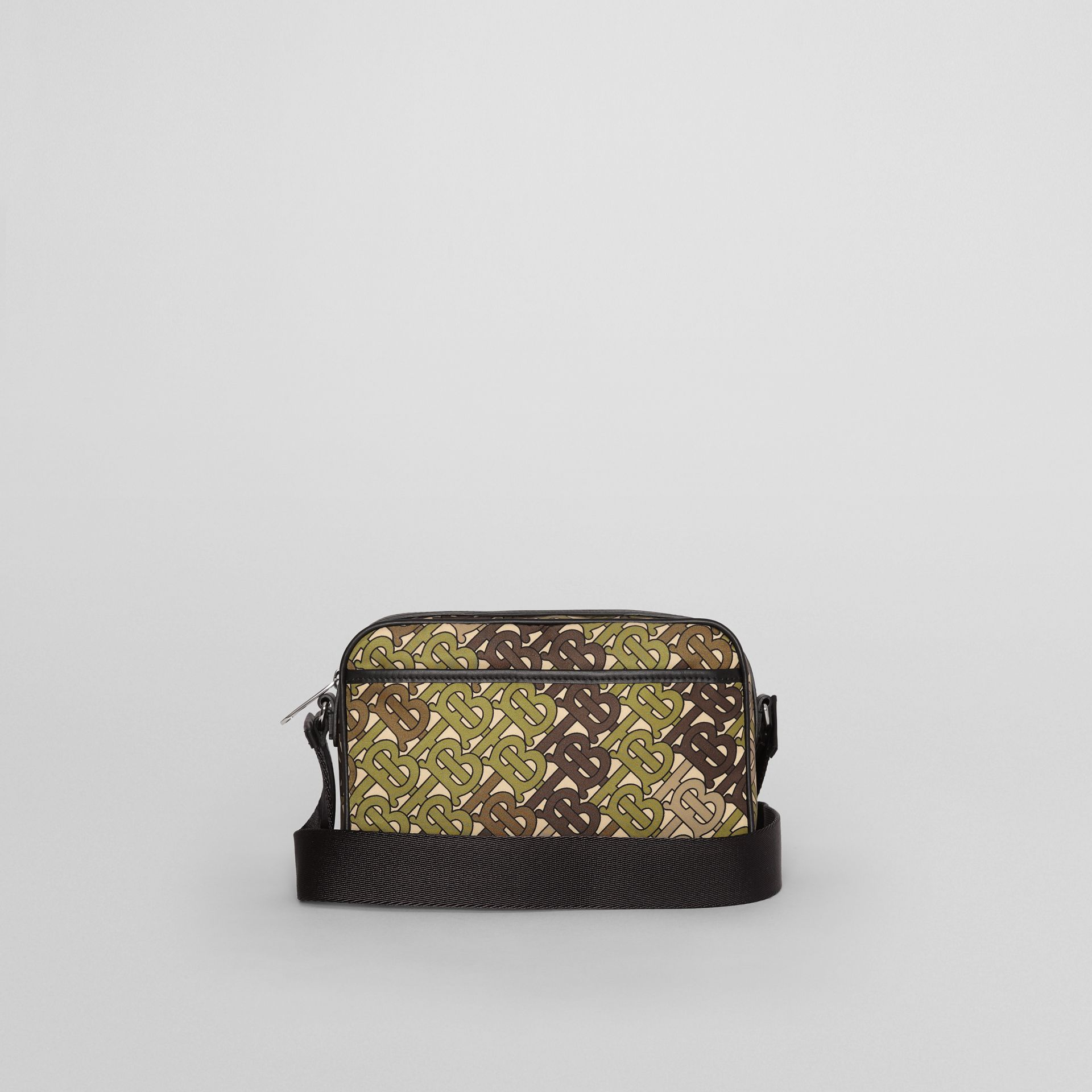 Monogram Print and Leather Crossbody Bag in Khaki Green - Men | Burberry Singapore - gallery image 7
