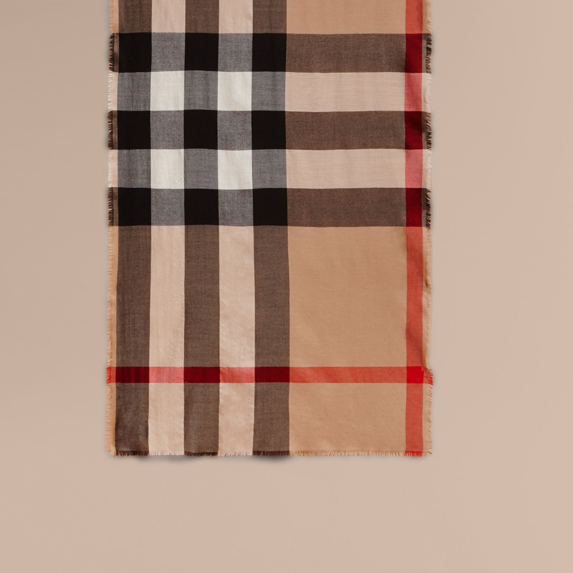 Extra-long Lightweight Cashmere Check Scarf in Camel | Burberry United States - gallery image 1