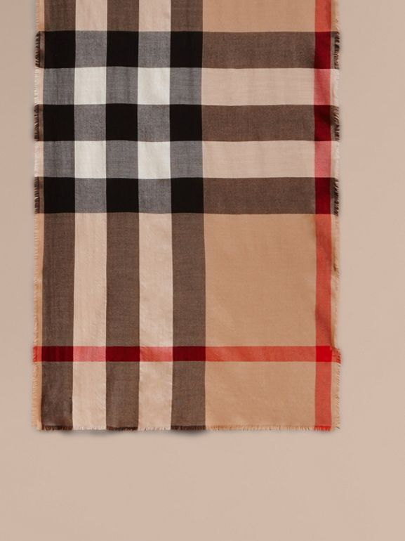 Extra-long Lightweight Cashmere Check Scarf in Camel | Burberry United States - cell image 1