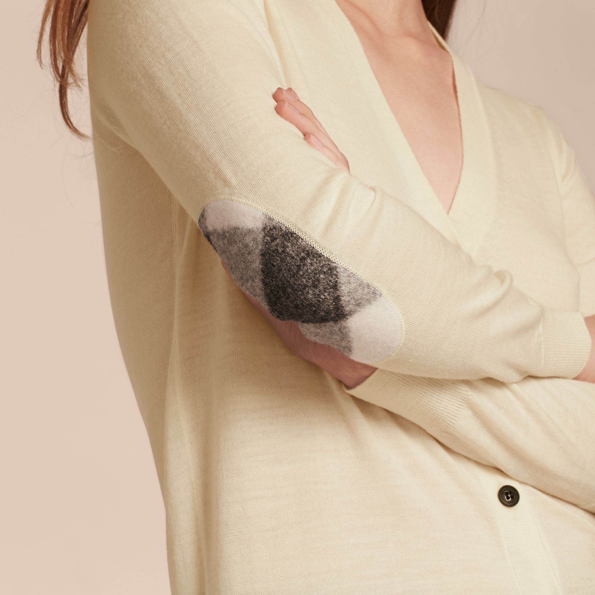 Check Detail Merino Wool Cardigan in Natural White - gallery image 6