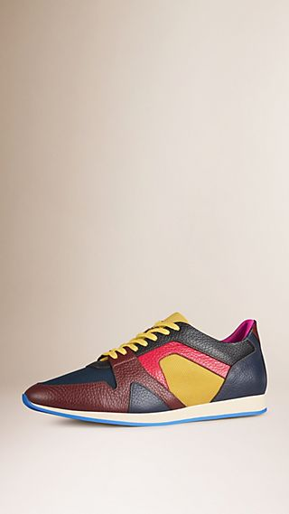 The Field Sneaker in Colour Block Leather and Mesh Dark Magenta