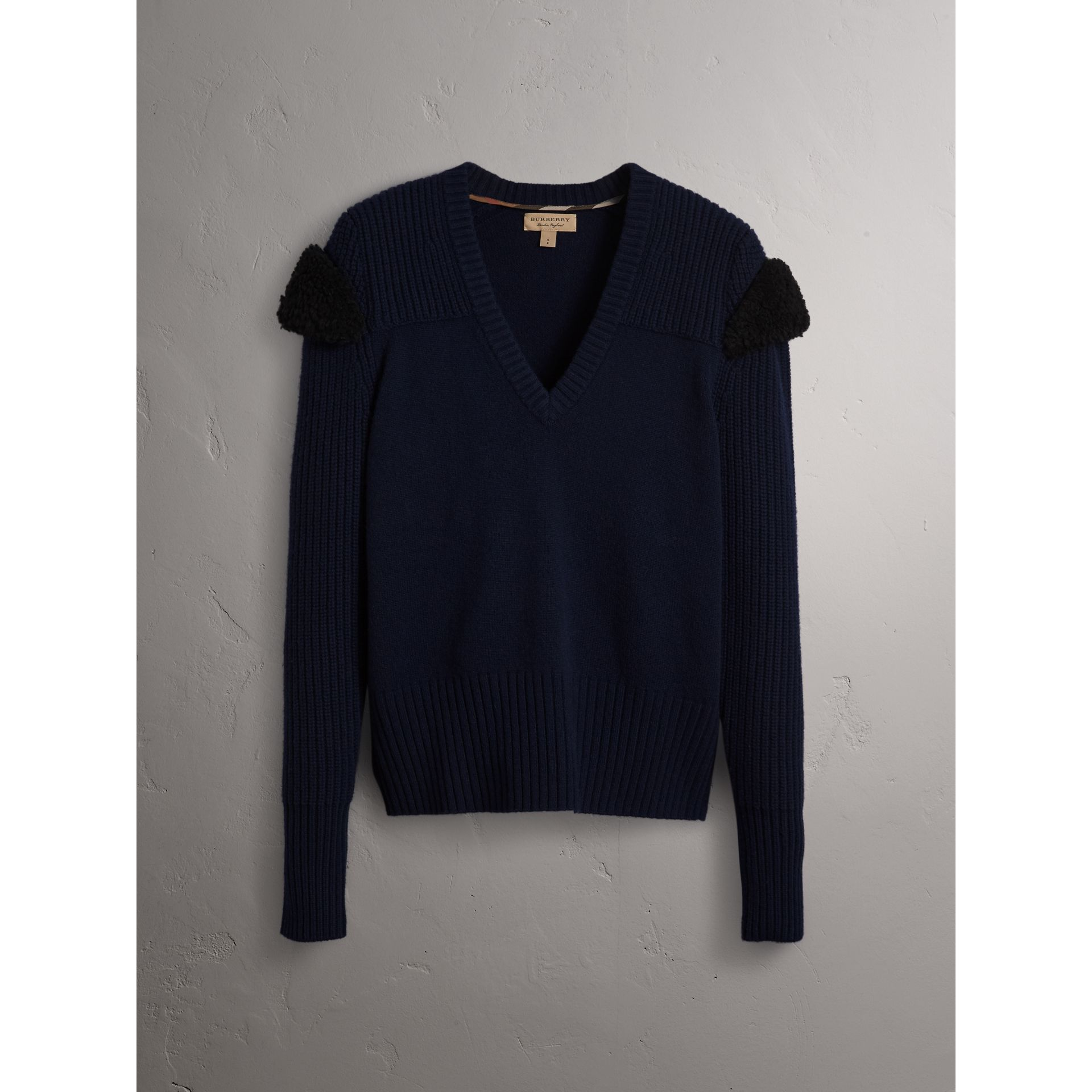 Shearling Trim Ribbed Wool Cashmere Sweater in Navy - Women | Burberry - gallery image 4