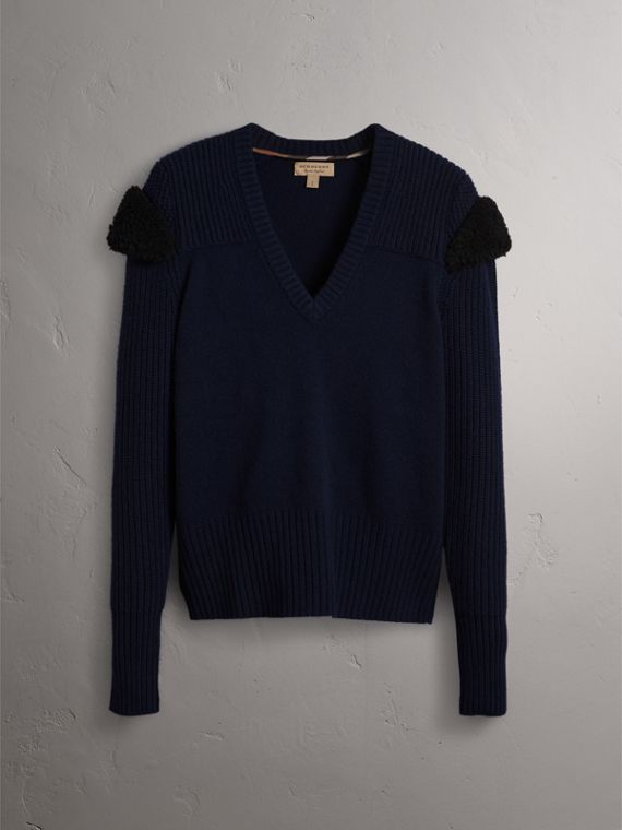 Shearling Trim Ribbed Wool Cashmere Sweater in Navy - Women | Burberry - cell image 3