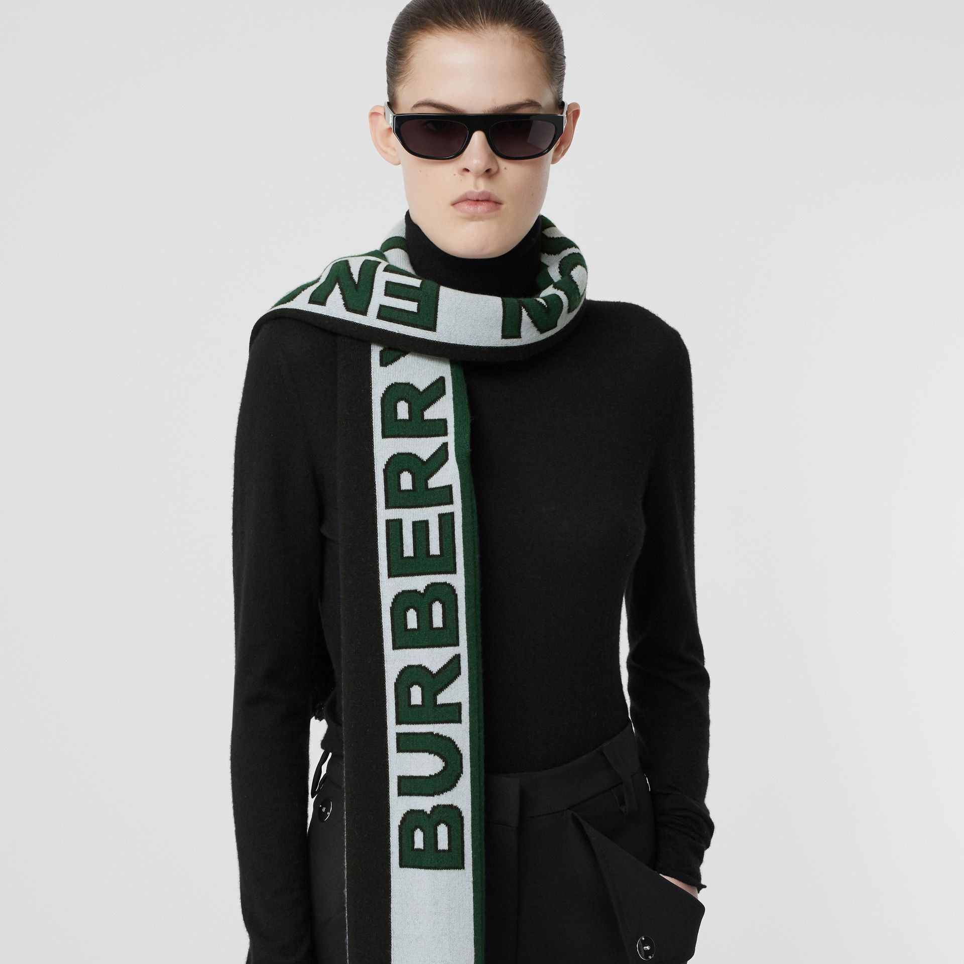 Logo Cashmere Jacquard Capelet with Sleeves in Pale Blue | Burberry - gallery image 1
