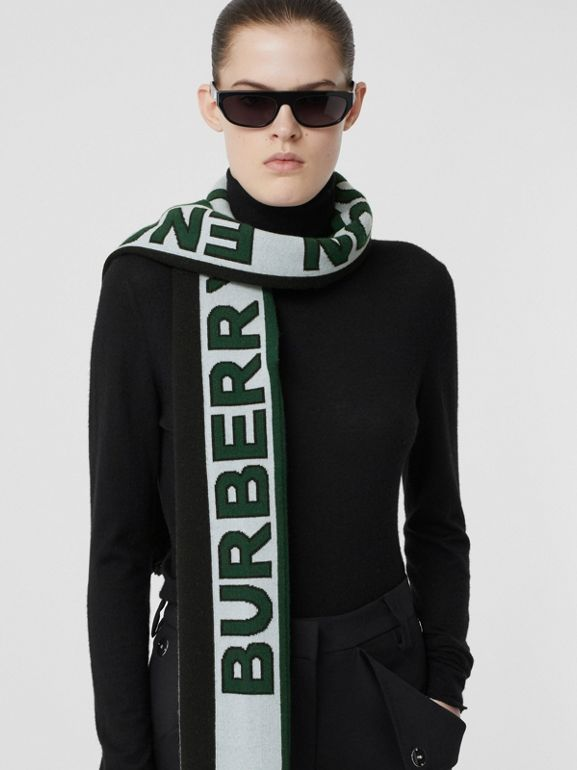 Logo Cashmere Jacquard Capelet with Sleeves in Pale Blue | Burberry - cell image 1