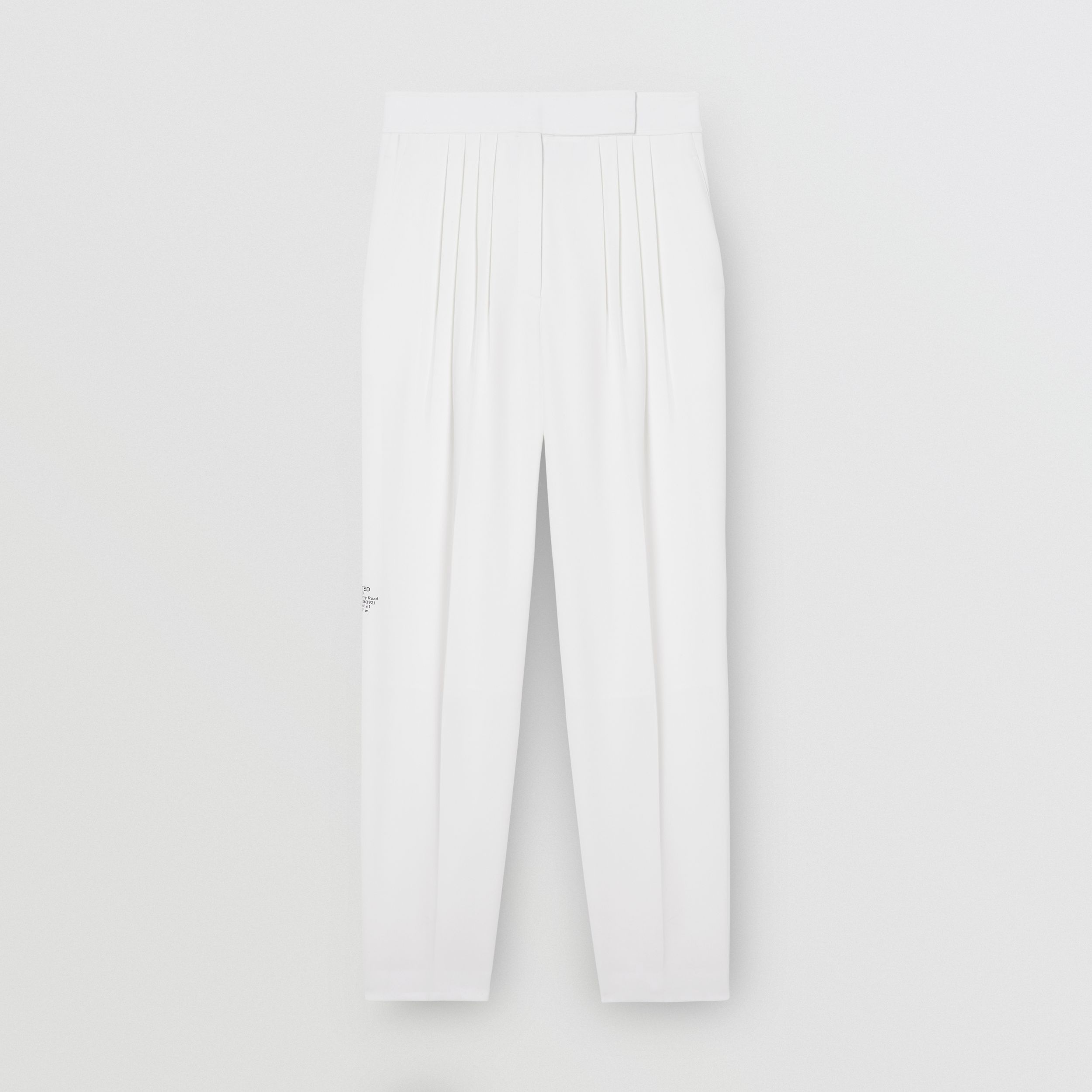 Location Print Wool Blend Tailored Trousers in Optic White - Women | Burberry - 4