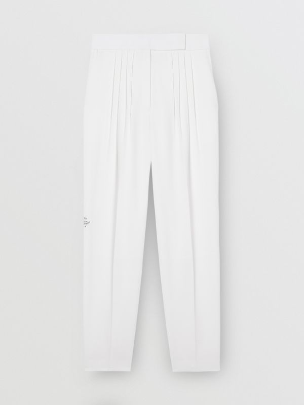 Location Print Wool Blend Tailored Trousers in Optic White - Women | Burberry United Kingdom - cell image 3