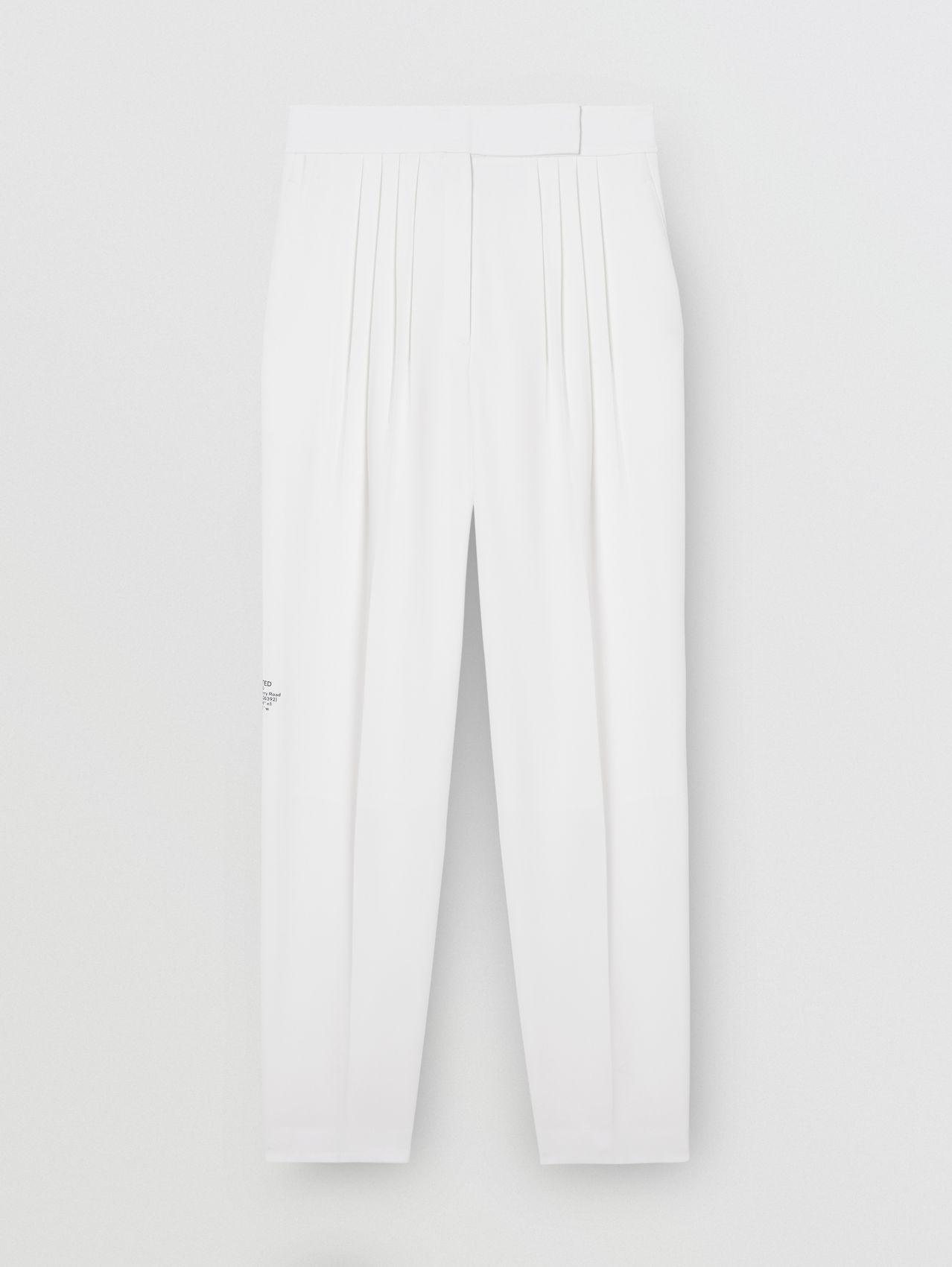 Location Print Wool Blend Tailored Trousers in Optic White