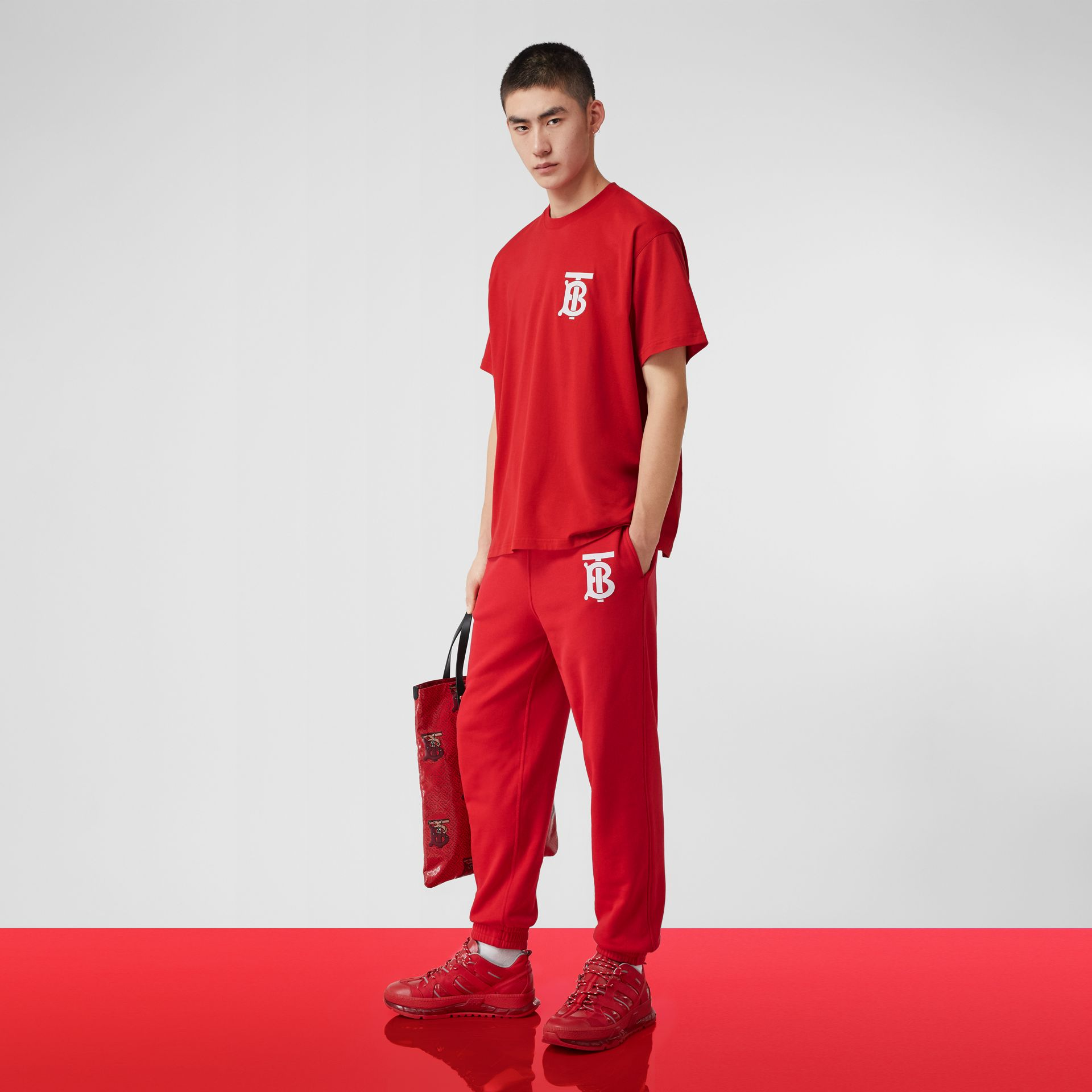Monogram Motif Cotton Trackpants in Bright Red - Men | Burberry United States - gallery image 5