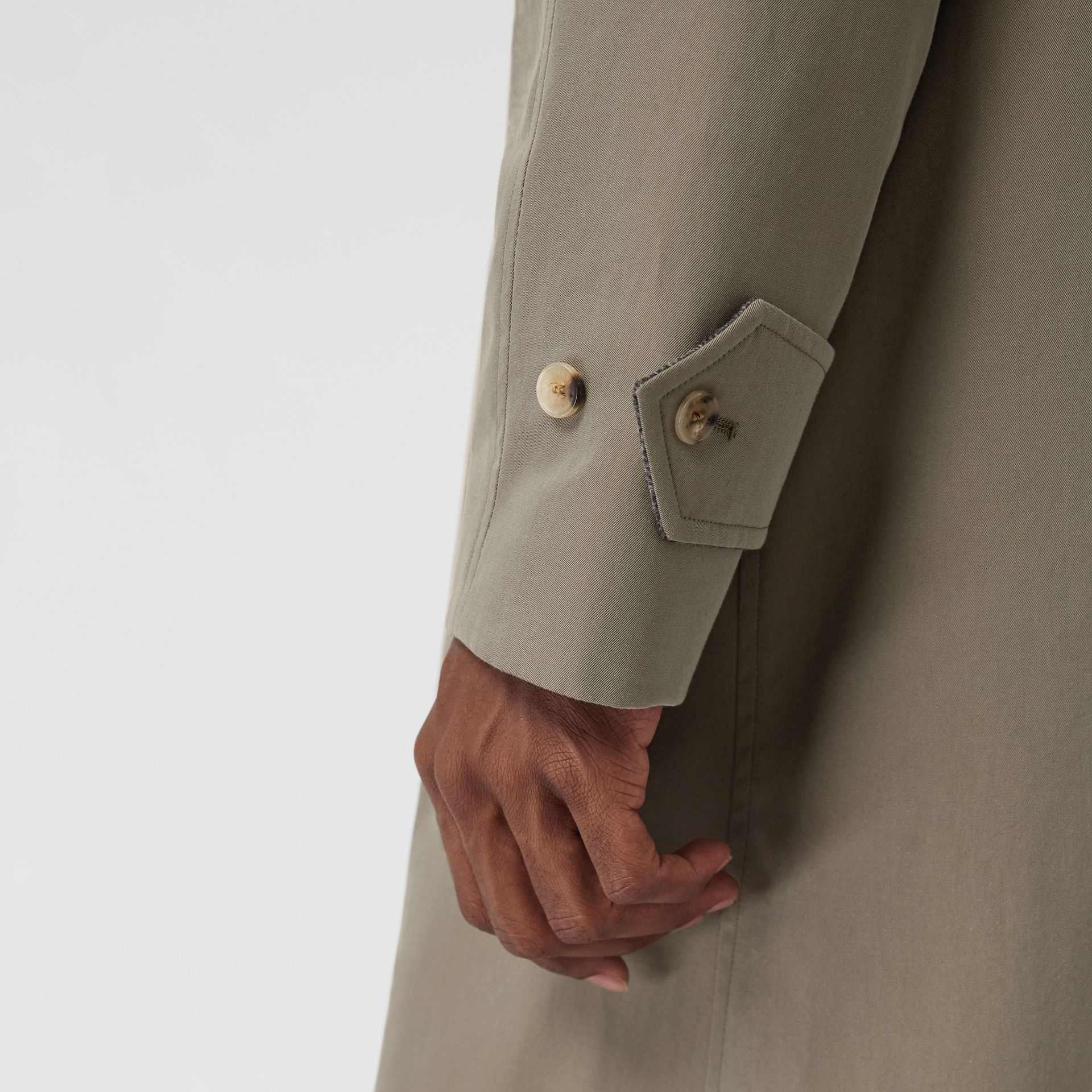 Reversible Tropical Gabardine and Wool Car Coat in Chalk Green - Men | Burberry - gallery image 5