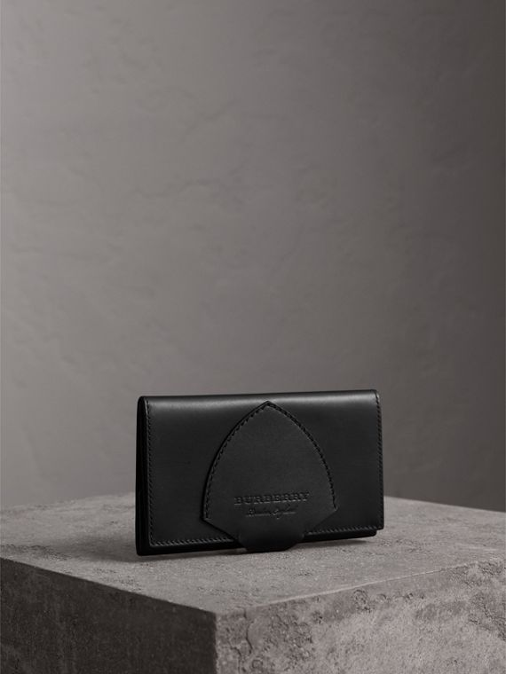 Equestrian Shield Leather Continental Wallet in Black