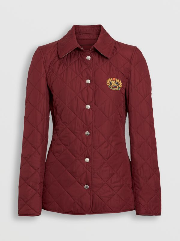 Embroidered Crest Diamond Quilted Jacket in Damson - Women | Burberry - cell image 3