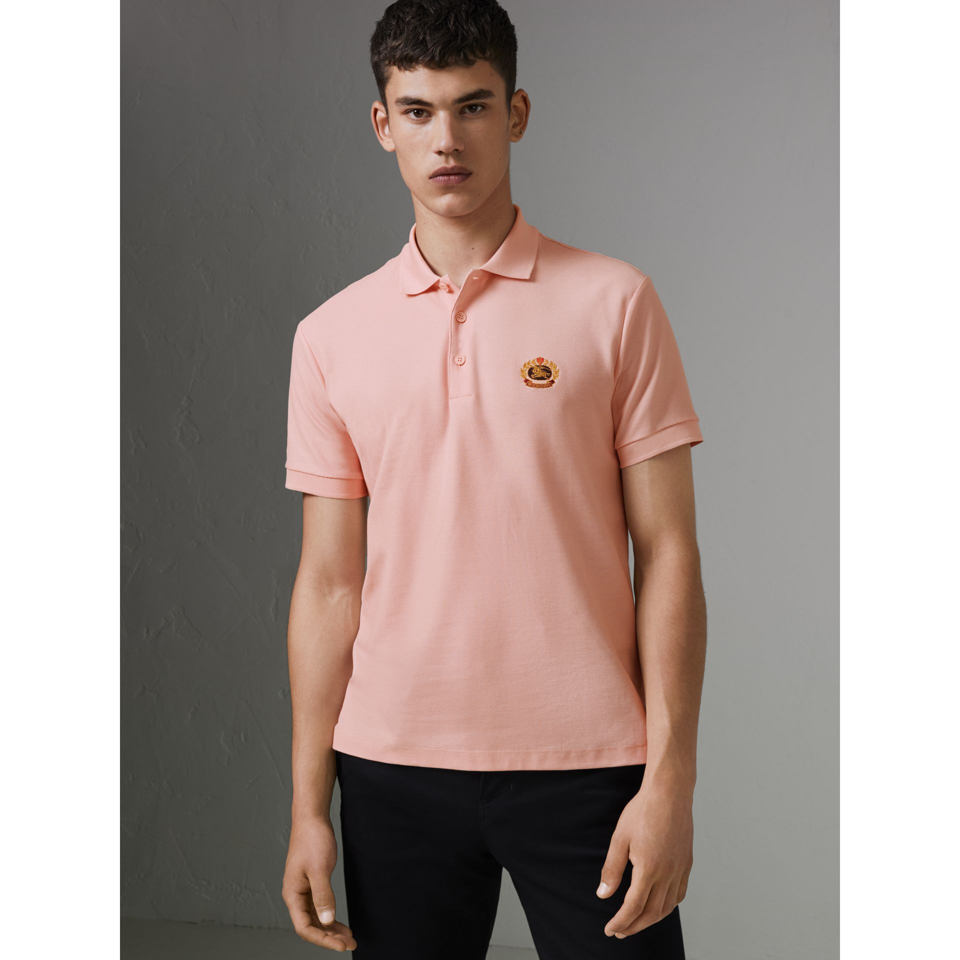 Archive Logo Cotton Piqué Polo Shirt in Pale Pink - Men | Burberry - gallery image 4
