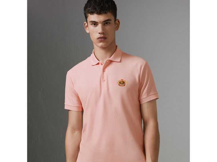 Archive Logo Cotton Piqué Polo Shirt in Pale Pink - Men | Burberry - cell image 4
