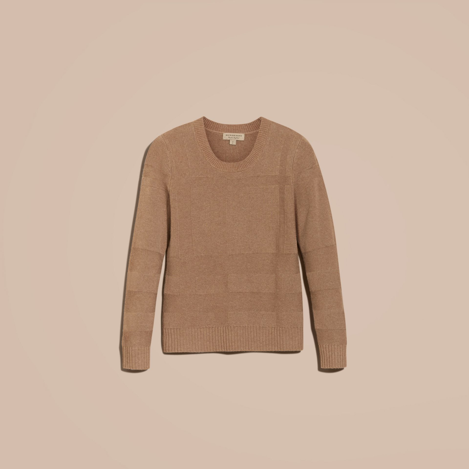 Check-knit Wool Cashmere Sweater in Camel - gallery image 4