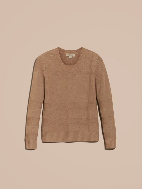 Check-knit Wool Cashmere Sweater Camel - cell image 3