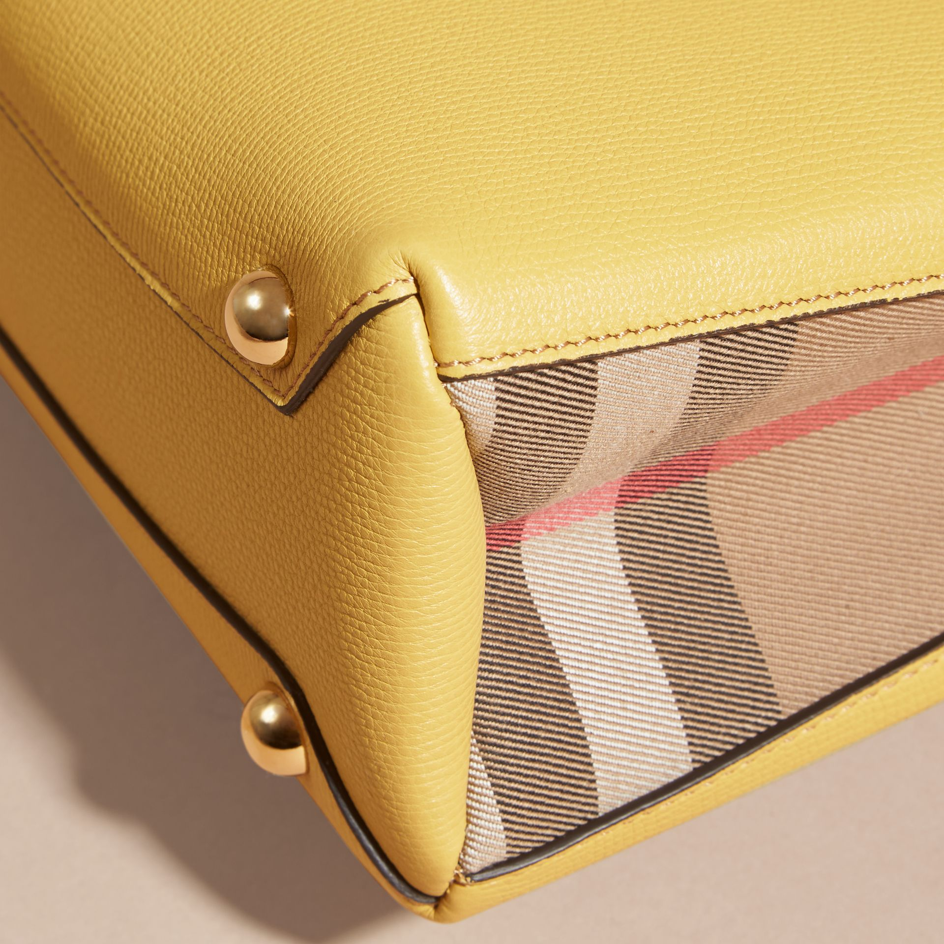 The Small Banner in Leather and House Check in Citrus Yellow - gallery image 6