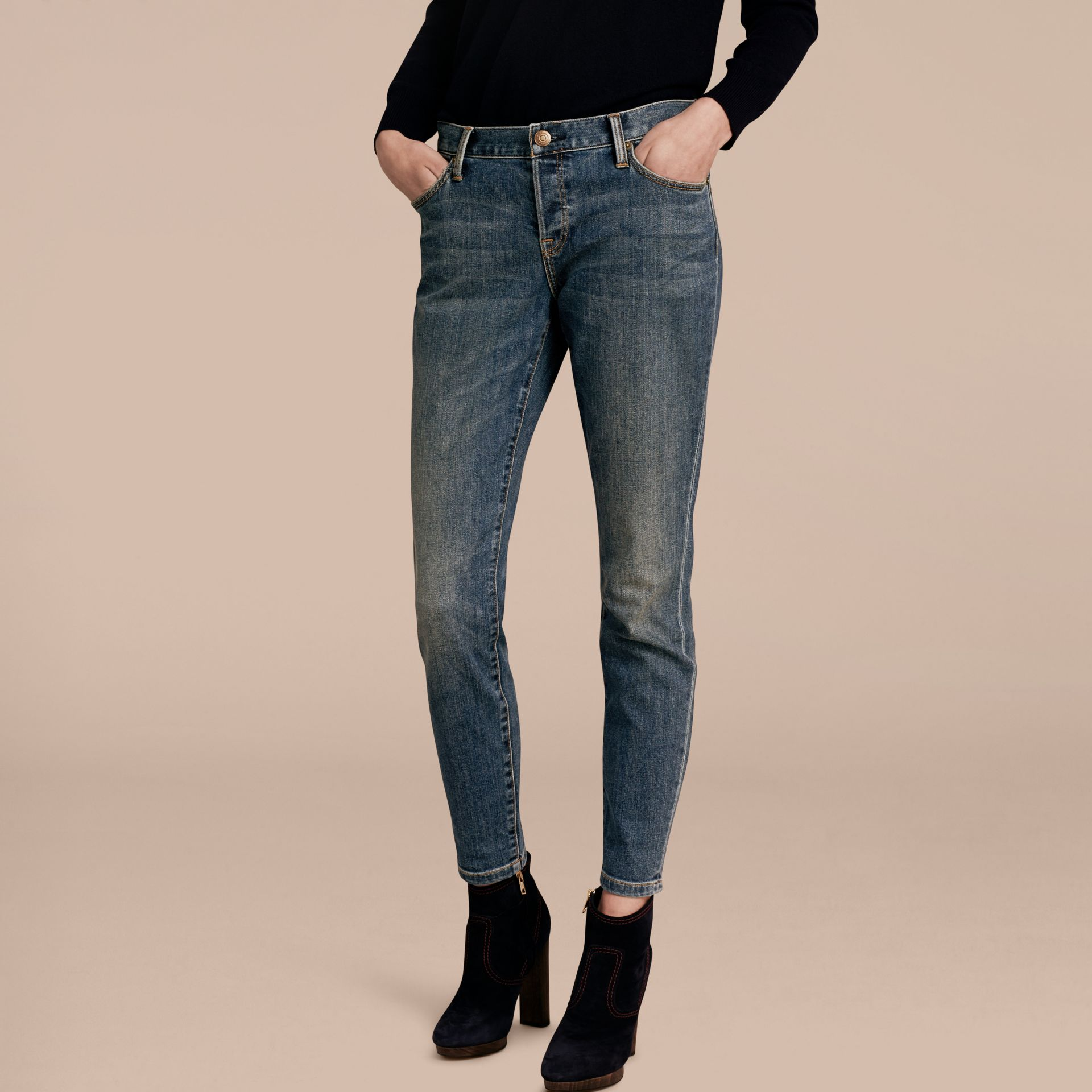 Relaxed Fit Mid-Indigo Jeans - Women | Burberry - gallery image 7