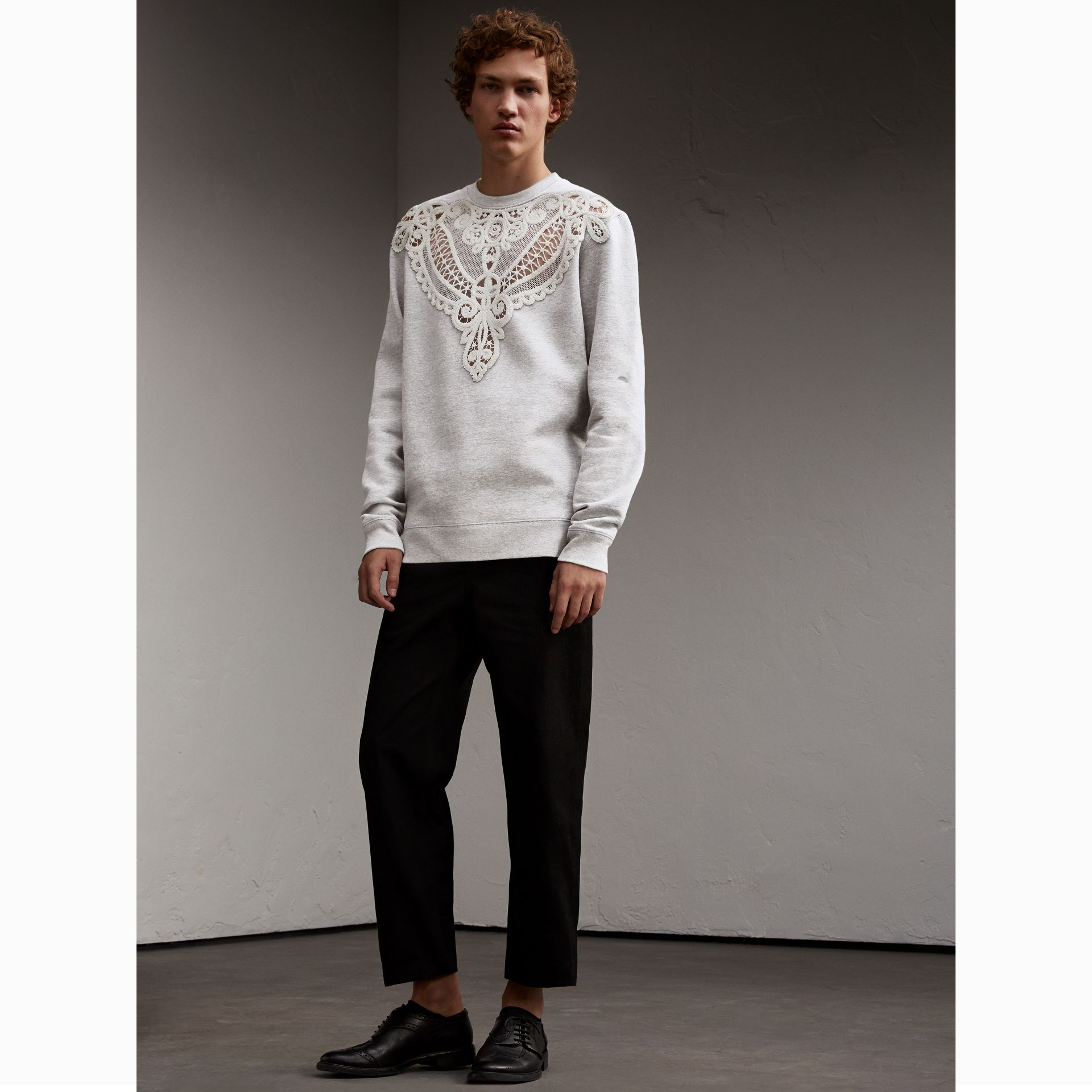 Unisex Lace Cutwork Sweatshirt in Light Grey Melange - Women | Burberry Singapore - gallery image 3