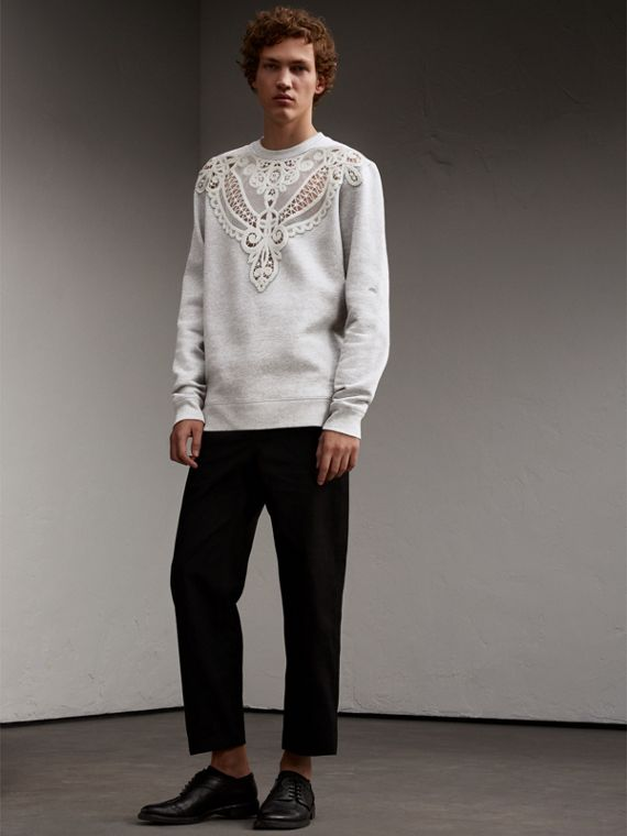 Unisex Lace Cutwork Sweatshirt in Light Grey Melange - Women | Burberry Singapore - cell image 2